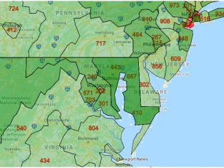 Area Code Map of Maryland