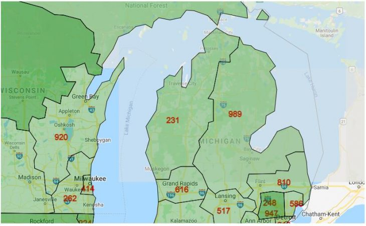 Area Code Map of Michigan