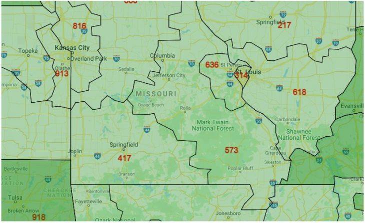Area Code Map of Missouri
