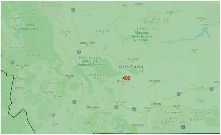 Area Code Map of Montana