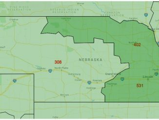 Area Code Map of Nebraska