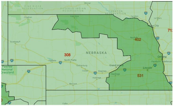 Area Code Map of Nebraska