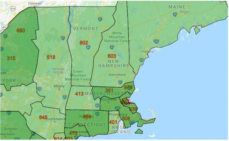 Area Code Map of New Hampshire