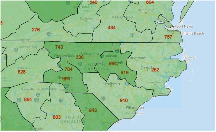 Area Code Map of North Carolina