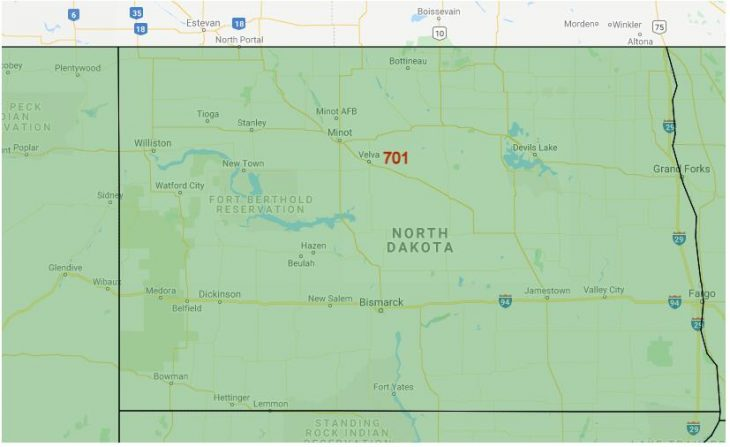 Area Code Map of North Dakota