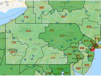 Area Code Map of Pennsylvania