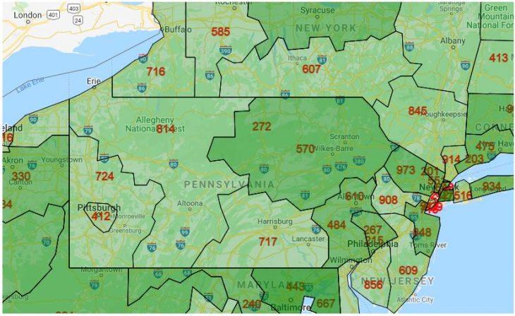 Area Code Map of Pennsylvania
