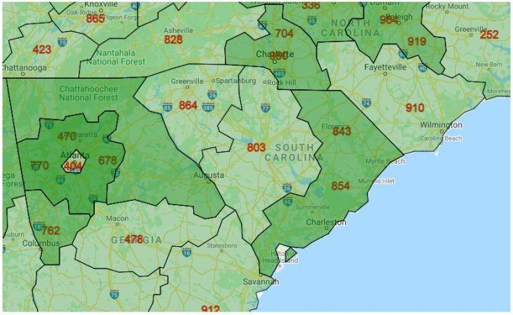 Area Code Map of South Carolina
