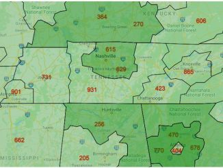 Area Code Map of Tennessee