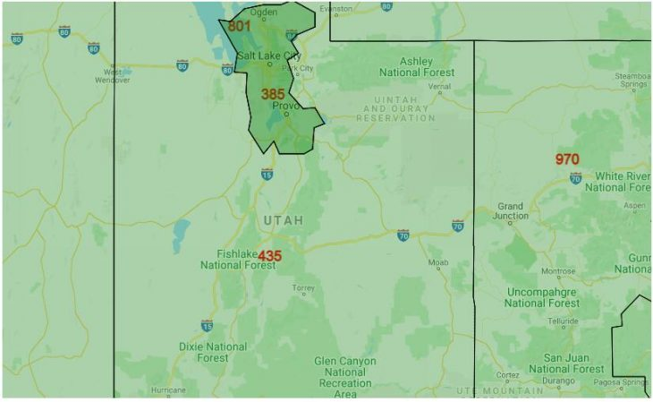 Area Code Map of Utah