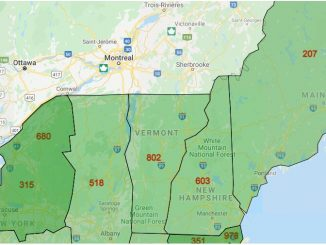 Area Code Map of Vermont