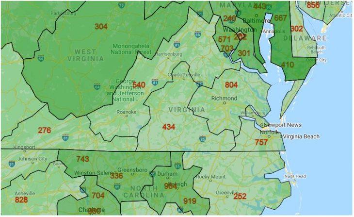 Area Code Map of Virginia