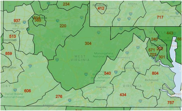 Area Code Map of West Virginia