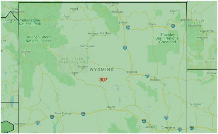 Area Code Map of Wyoming
