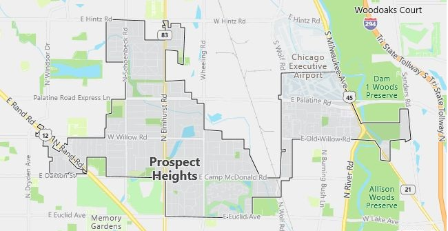 Map of Prospect Heights, IL