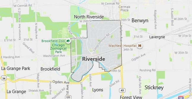 Map of Riverside, IL