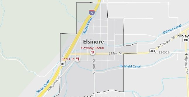 Map of Elsinore, UT