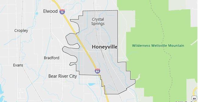 Map of Honeyville, UT