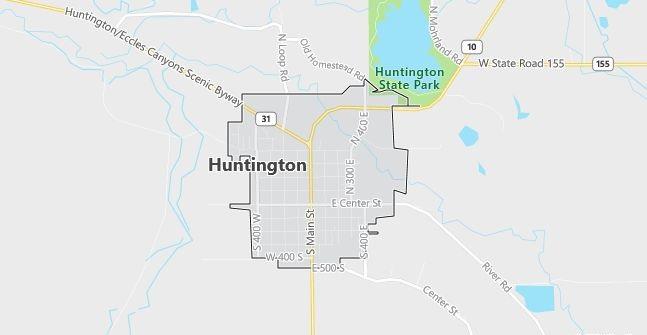 Map of Huntington, UT