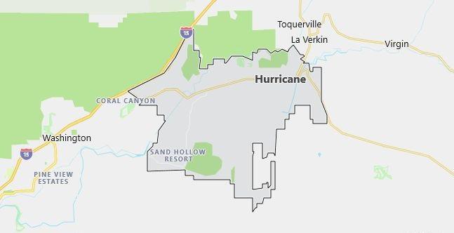 Map of Hurricane, UT