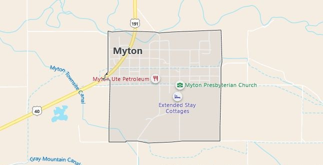 Map of Myton, UT
