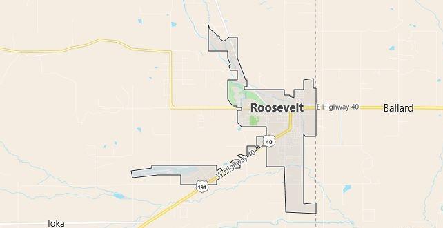 Map of Roosevelt, UT