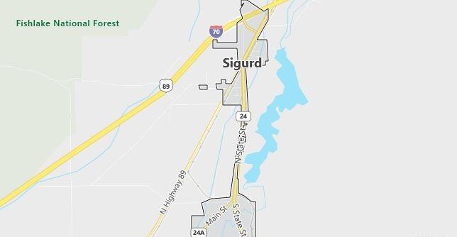 Map of Sigurd, UT