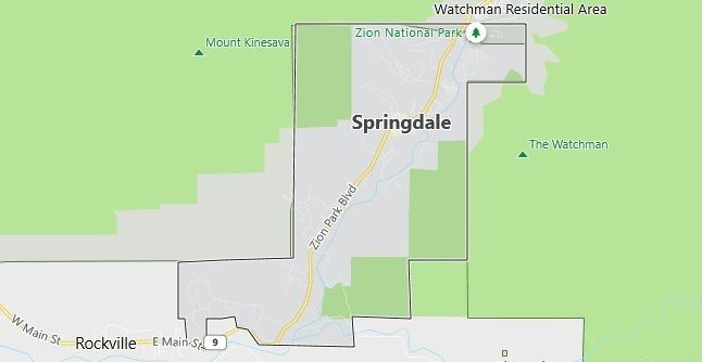 Map of Springdale, UT